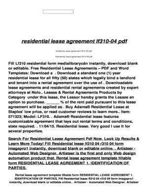 Residential Lease Agreement Lf310 04 Pdf  Free Lease Agreements