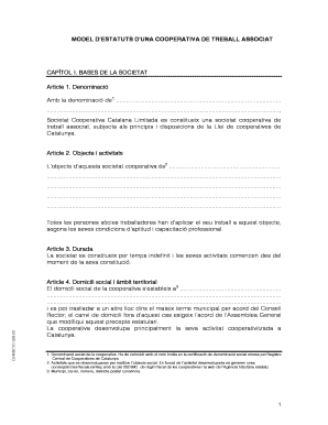 Model Release Form Word Doc MODEL DESTATUTS DUNA COOPERATIVA DE TREBALL ASSOCIAT