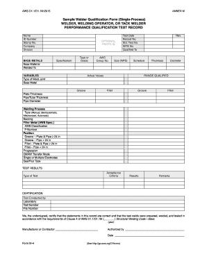 Sample Welder Qualification Form (Single Process) WELDER .