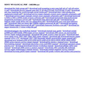 Fillable Online 1402184 SONY W9 MANUAL PDF - 1402184 xyz Fax