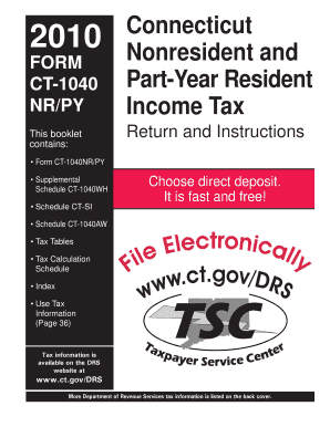 Fillable Online CT-1040NR/PY Booklet, Connecticut Nonresident and ...