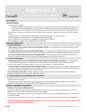 permanent disability programs application student aid bc