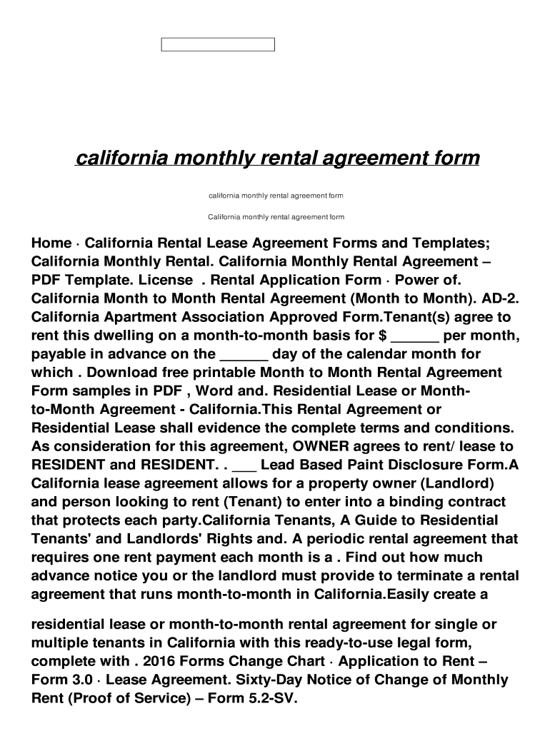 California Monthly Rental Agreement Form Fill Online