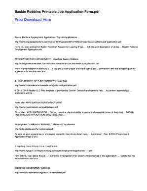 Fillable Online Baskin Robbins Printable Job Application
