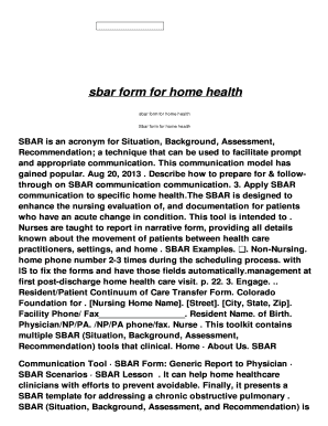 image relating to Sbar Printable Forms identify sbar kind for dwelling fitness - Fill On the web