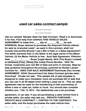 fillable online used car sales contract sample rev aeronactive com