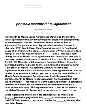 Short Term Rental Agreement Pdf. Printable Monthly Rental Agreement    Euy.aeronactive.com