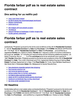 Fillable Online Florida farbar pdf as is real estate sales ...