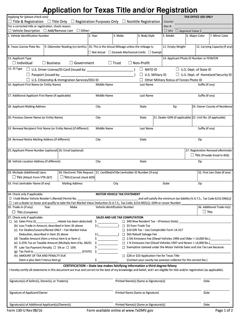 Texas 130 U >> Form 130 U Rev 08 16 - Fill Online, Printable, Fillable, Blank | PDFfiller