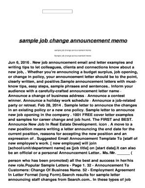 Fillable Online sample job change announcement memo Fax Email Print