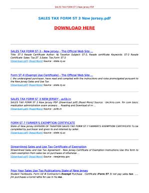 Fillable Online avlib SALES TAX FORM ST 3 NEW JERSEY. SALES TAX ...