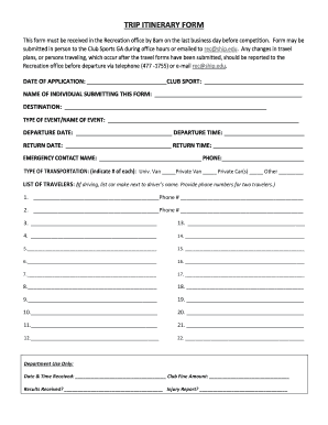 fillable online trip itinerary form ship edu fax email print
