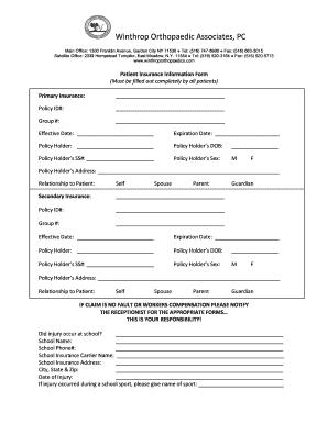 Fillable Online Winthrop Orthopaedic Associates, PC Fax
