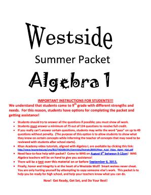 Fillable Online houstonisd Summer Packet Algebra 1 - Houston