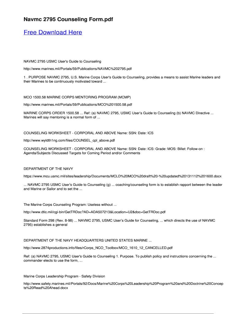 Navmc 2795 Counseling Worksheet Fill Online Printable
