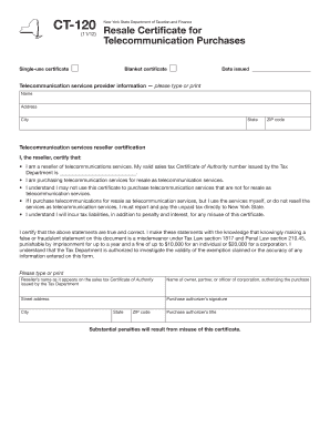 Fillable Online Form CT-120. Resale Certificate for ...