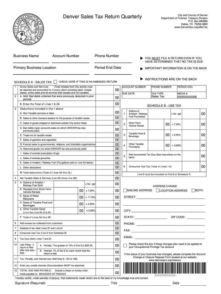 Tx Sales Tax Return Quarterly Form Denver City And County Fill Out Tax Template Online Us