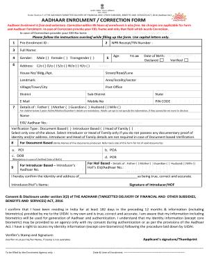 Aadhaar Enrolment Form Pdf