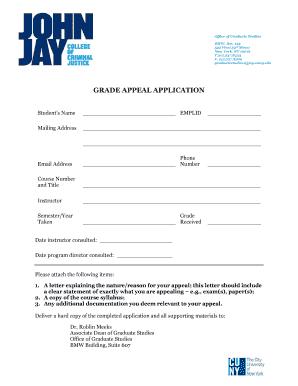 GRADE APPEAL APPLICATION - jjay cuny edu Fill Online