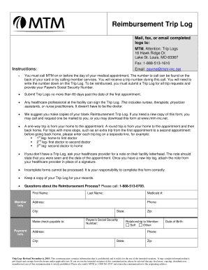 mtm trip log Fillable Online Reimbursement Trip Log - mtm-inc.net Fax Email Print ...
