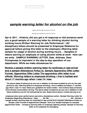 Warning letter for drinking at work fill online printable warning letter for drinking at work altavistaventures Gallery