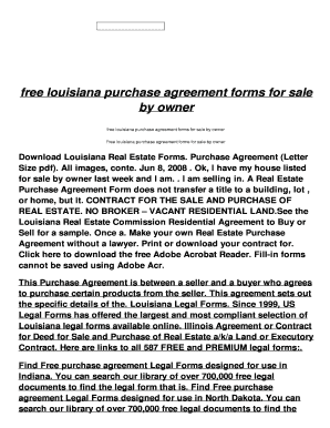 Fillable Online Louisiana Purchase Agreement Forms For Sale