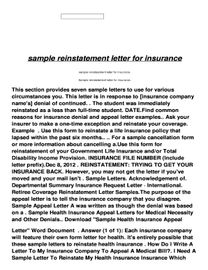 sample insurance lapse letter  Sample Letter Of Reinstatement - Fill Online, Printable, Fillable ...