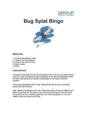 Fillable Online Bug Splat Bingo Fax Email Print - PDFfiller