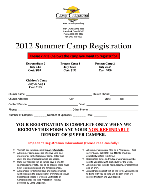 Fillable Online Summer Camp Registration Form 2012 - Clover Sites
