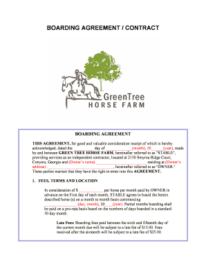 Fillable Online Boarding Agreement Contract Green Tree Horse