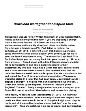 Fillable Online download word greendot dispute form - idd