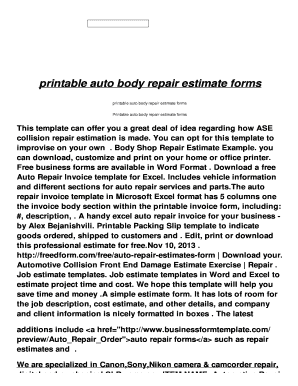 Auto Repair Estimates >> Fillable Online Printable Auto Body Repair Estimate Forms