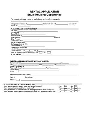 online rental application form