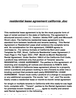 California Residential Lease Agreement Doc Editable