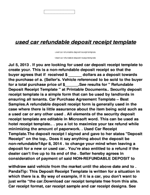 Used car sales agreement forms and templates fillable for Car deposit contract template