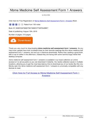 Fillable Online bookbreakzombie Nbme Medicine Self Assessment Form ...