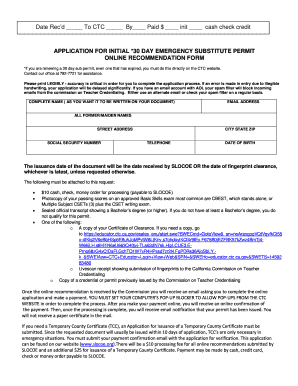 APPLICATION FOR INITIAL 30 DAY EMERGENCY SUBSTITUTE