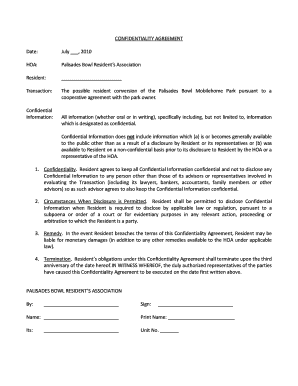 Fillable Online Confidentiality Agreement Hoa Palisades Bowl