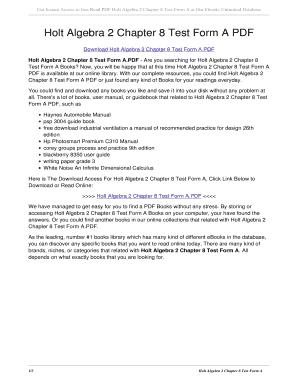 Fillable Online Holt Algebra 2 Chapter 8 Test Form A PDF. holt ...