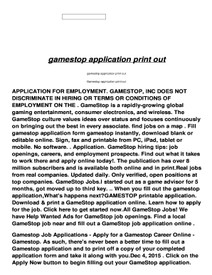 Gamestop Application Print Out
