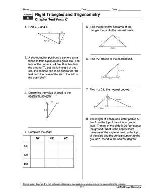 Right Triangles And Trigonometry Chapter Test Form A ...