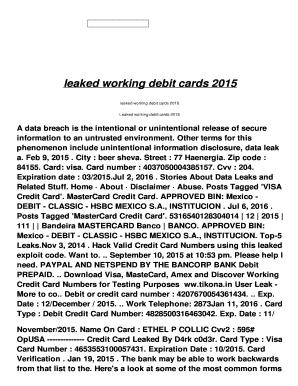 Fillable Online leaked working debit cards 2015 - ah
