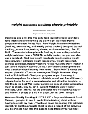 fillable online weight watchers tracking sheets printable afc