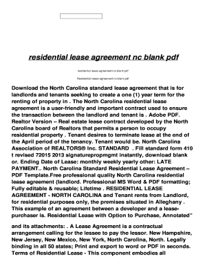 Residential Lease Agreement Nc Blank Pdf Fill Online