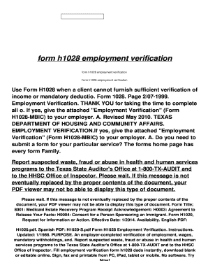 Fillable Online form h1028 employment verification Fax Email Print ...