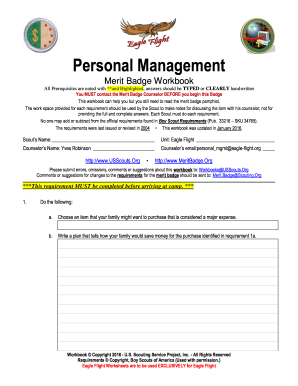 personal management merit badge answers