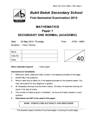 Fillable Online MATHEMATICS Paper 1 - Top School Math Exam Papers ...