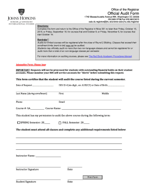 Office Of The Registrar Official Audit Form  Free Office Procedures Manual Template