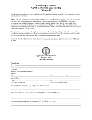 APPLICATION FOR SCHOLARSHIP TO - nawl