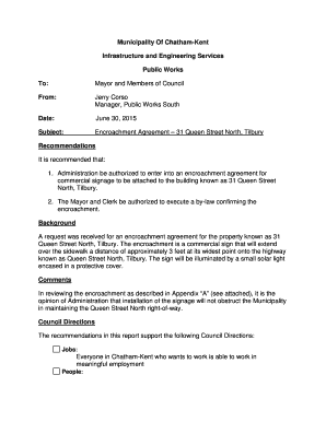 Fillable Online Chatham Kent Encroachment Agreement 31 Queen Street